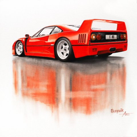 Ferrari F40 1987, oil on canvas 60x60 cm