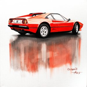 Ferrari 208 1982, oil on canvas 60x60 cm