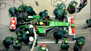Pit-stop Jaguar Racing Team 2004. Jaguar R5 Cosworth F1. Mark Webber. oil on canvas 150x85 cm