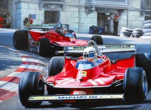 Monaco GP 1979 Ferrari 312T4. Jody Scheckter & Gilles Villeneuve, oil on canvas 55x75 cm