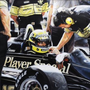 Ayrton Senna Lotus Renault 98t  1986, oil on canvas 50x50 cm