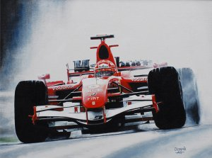 Michael Schumacher win 91, Ferrari 248 F1, GP China 2006 oil on canvas 30x40 cm