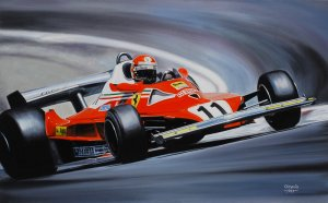 Niki Lauda Ferrari 312T2 French GP 1977, oil on canvas 35x55
