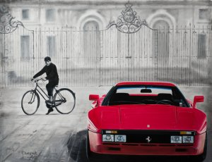 A boy & Ferrari 288 GTO, oil on canvas 65x50