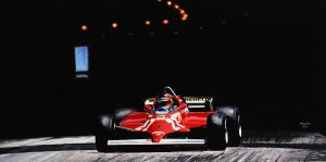 Winner Gilles Villeneuve #27 Ferrari 126CK Turbo, Monaco GP 1981, oil on canvas 50x100 cm