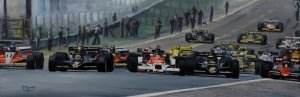 The start of the 1978 Spanish GP at Jarama circuit, oil on canvas 30x90 cm