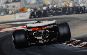 Gilles Villeneuve,GP Long Beach 1980, Ferrari 312T5, oil on canvas 35x53 cm