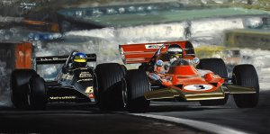 Jochen Rindt, Lotus 72 & Ronnie Peterson, Lotus 79, oil on canvas 30x60 cm