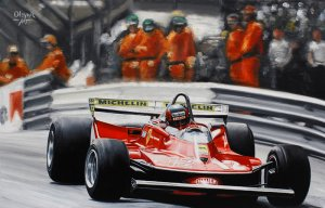 Gilles Villeneuve Ferrari 312T4, Monaco 1979, oil on canvas 29x43