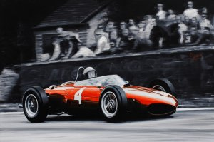 Phil Hill World Champion 1961, Ferrari 156 F1 Sharknose, oil on canvas 30x43