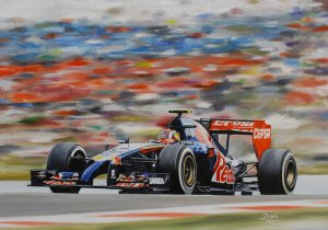 Daniil Kvyat Toro Rosso STR9 2014, oil on canvas 43x30 cm