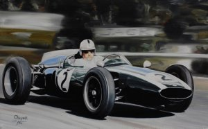 Jack Brabham Cooper T53 Climax, 1960, oil on canvas 25x40 cm