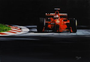 Michael Schumacher Ferrari F300 GP Italy, Monza 1998, oil on canvas 30x43 cm