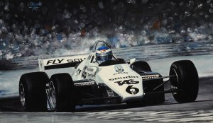 World Champion Keke Rosberg, Williams FW08 1982,  oil on canvas 30x50 cm
