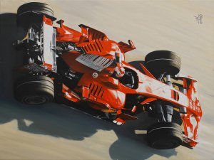 World Champion Kimi Raikkonen Ferrari F2008, oil on canvas 80x60 cm