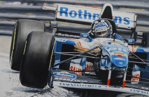 Damon Hill, Williams FW17 Grand Prix Monaco 1995, oil on canvas 40x60