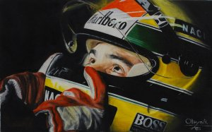 Ayrton Senna 1989, oil on canvas 25x40 cm