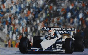 Nelson Piquet Brabham BT52B World Champion 1983, oil on canvas 35x55 cm
