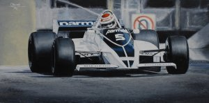 Nelson Piquet Brabham BT49C World Champion 1981, oil on canvas 25x50 cm