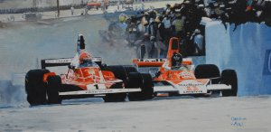 Niki Lauda vs James Hunt, Ferrari 312T vs Mclaren M23 GP Brazil 1976, oil on canvas 25x40 cm