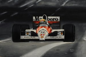 Ayrton Senna Mclaren MP4/5B 1990, oil on canvas 25x30 cm
