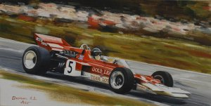 Jochen Rindt, Lotus 72, 1970 British Grand Prix, oil on canvas 25x40 cm
