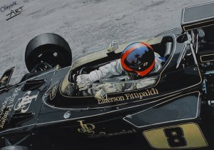Emerson Fittipaldi, Lotus 72D Ford-Cosworth, Grand Prix Monaco 1972, Gouache On Paper 30x20 cm