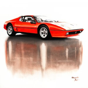 Ferrari 512BB 1980, oil on canvas 60x60