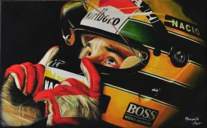 Legend Ayrton Senna, oil on canvas 25x40 cm