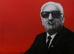 Enzo Ferrari il commendatore, oil on canvas 74x54 cm