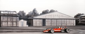 Ferrari 312 F1  Chris Amon, Test 1969 Modena, oil on canvas 100x40 cm