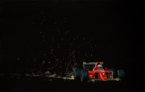 Alain Prost. Ferrari F1-90, Sparks. Oil on canvas, 35x55 cm