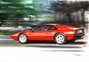 Ferrari 308 GTB Pininfarina. 35x50 cm. Oil on canvas