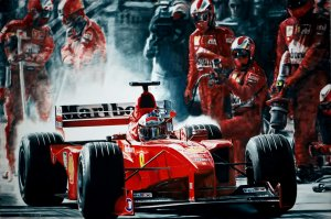 Schumacher Pit-Stop. Ferrari F399. 60x90cm. Oil on canvas