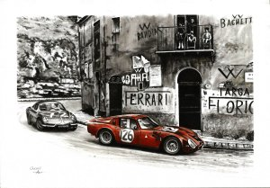 Targa Florio 1966. Alfa Romeo Giulia TZ2. Oil on canvas 35x50 cm