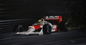 Senna. McLaren MP4/4 1988 Oil on canvas 35x65 cm