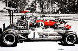 Start Grand Prix 1969. Oil on canvas 145 x 95 cm